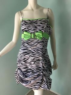 3d194afe9a7 Halloween Zebra Stripes Dress Costume Black Green See Measurements