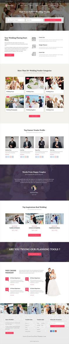 Weddlist is clean and modern design 2in1 responsive #HTML5 template for #wedding #directory and wedding #vendors listing website download now..