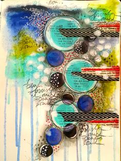 Quick journal page play this morning #art #abstract #acrylics #artjournal #artjournalling #artjournalpage #background #collage #circleart #dinawakley #doodle #dylusionsjournal #intuitiveart #intuitivepainting #journal #layers #mixedmedia #mixedmediaart #pen #paint #stabilo