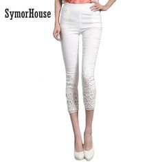 1df17a744 Plus Size 4XL Candy color skinny slim Elastic pencil pants with Lace