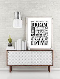 Dreams Print, Purpose Print, Goals Print, Goals Artwork, Inspirational art, intention, mission, objective, motivation print, dream art, goal by peppermintcreekprint. Explore more products on http://peppermintcreekprint.etsy.com