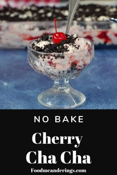 This easy Cherry Cha Cha is made with marshmallows, whipped cream. oreo cookie crumbs and canned cherries. It's also a no bake dessert that's perfect for throwing together last minute to bring along to a picnic, family gathering, summer BBQ or potluck . Potluck Desserts, Easy No Bake Desserts, Great Desserts, Delicious Desserts, Dessert Recipes, Dinner Recipes, Pudding Recipes, Pistachio Dessert, Oreo Dessert