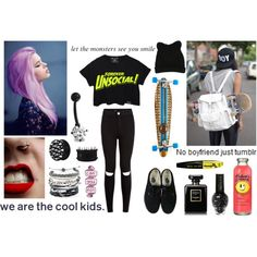 skating by sanne-alta on Polyvore featuring mode, Vans, Domo Beads, Bling Jewelry, George J. Love, L'Oréal Paris and Chanel