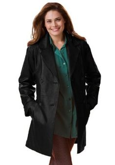 Woman Within Plus Size Jacket In Leather With Pleat Back A-Line (Black,16 W) Woman Within. $134.99