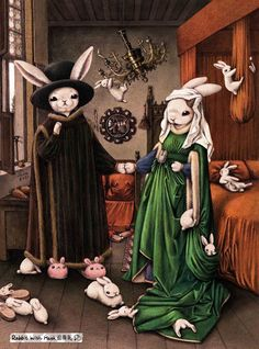 Versions il·lustrades de Shae Syu / Versiones ilustradas de Shae Syu / Shae Syu illustrations: versions of classic paintings Bunny Art, Cute Bunny, Rabbit Illustration, Illustration Art, Arnolfini Portrait, Somebunny Loves You, White Rabbits, Rabbit Art, Whimsical Art