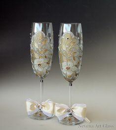 Wedding Glasses, Wedding Toasting Flutes, 2 Sektgläser, Hand Painted Gold Silver…
