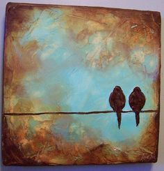 Handmade Art on Etsy Custom Bird on a Wire Sculpted Painting 12 x 12 x 1 5 inches deep by EarthArt - Stylehive
