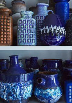 A blue ocean of amazing West German vases.