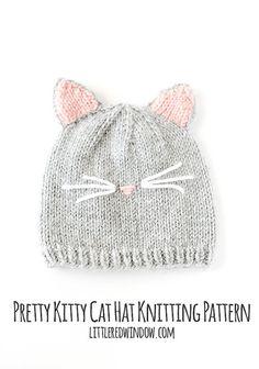 Das hübsche Kätzchen Katze Hut Strickmuster ist unsere ehemaligen geliebten Haustier nachempfunden, die süßesten kleinen rosa Nase hatte. Ihre süße kleine Kätzchen sieht einfach nur süß in dieser Hut mit seinen niedlichen rosa Ohren und liebenswert Schnurrhaare. Miau!  -Katze Hut Muster, Kitty Katzen Mütze, Baby Katzen Mütze, Baby Kitty Mütze, Strickmuster Katze, Katze-Hut-Foto-Prop-  Diese werbefreie zweiseitige PDF-Druckversion meine sehr beliebte Pretty Kitty Katze Hut Baby Strickmuster…
