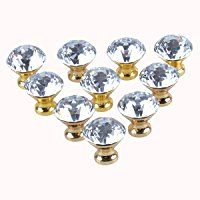 LONGWIN 10pcs 30mm Crystal Glass Cabinet Knob Cupboard Drawer Pull Handle (Gold)