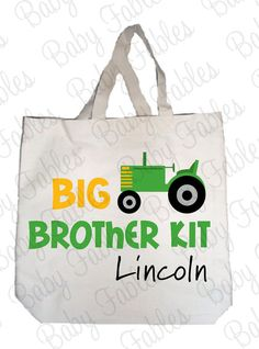 Big Brother Kit - Tote Bag - Tractor Includes Personalized Big Brother Tote AND Big Brother Iron On on Etsy, $15.00