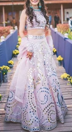 Lilac Mirror Work Lehenga with Crop Top - Designer Dresses Couture Indian Wedding Gowns, Indian Bridal Outfits, Indian Bridal Lehenga, Red Lehenga, Anarkali, Floral Lehenga, Wedding Dress, Wedding Outfits, Indian Fashion Dresses