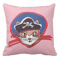 pirate cat funny cartoon throw pillow