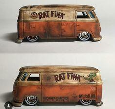 Lowered VW Van / Rat Fink design with heavy weathering.