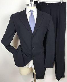 "be7cf0104 Hugo Boss ""Einstein/ Omega"" Navy Blue 100% Wool Mens Suit 44XL - Pants 37 x  33"