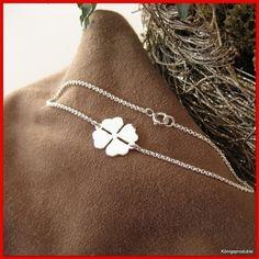 1 Erbsarmband mit Kleeblatt Anhänger in 925er Silber, 19 cm, Glücksklee, NEU | eBay