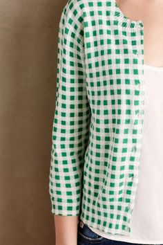 Checked Mint Cardigan