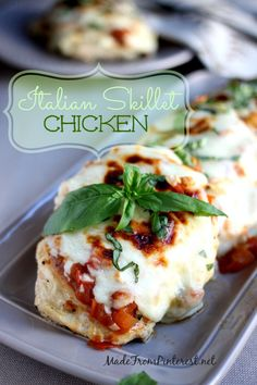 Italian Skillet Chicken - Simple, fresh ingredients make a perfect 30 minute meal. Pinned over 5,000 times!