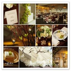 I like the simple earthy look here- if you added some pops of red and orange or copper it would be so warm and inviting.    brown theme wedding, wedding decorations, wedding ideas, manzanita branch centerpiece