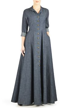When i get money, i want this I <3 this Cotton chambray maxi shirtdress from eShakti