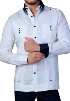 French Cuff Two Pocktes Guayabera. Back Orders or Demand. Guayabera Long Sleeve for Men. Cuban Traditional 2 Upper pockets with 3 Buttons. Guayabera for wedding. High Collar Shirts, Cool Outfits For Men, Guayabera Shirt, African Dresses Men, Mens Designer Shirts, Custom Made Clothing, Mens Sleeve, Suit Fashion, French Cuff
