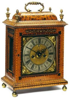 """1695 English Bracket clock at the Victoria and Albert Museum, London - From the curators' comments: """"Bracket clocks were designed to stand on a bracket or table top and were popular for libraries and closets."""""""