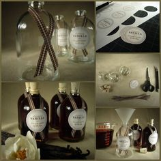 DIY Homemade Vanilla Extract and Labels. Gorgeous gift and cheap! Great tutorial at one of my favorite sites - Style Me Pretty. Again, super easy.