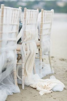Beach wedding chair décor ideas-soft and elegant
