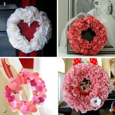 DIY Valentine's Day wreaths Diy Valentines Day Wreath, Valentines Day Hearts, Valentines Day Decorations, Valentine Day Crafts, Valentine Ideas, Holiday Fun, Holiday Crafts, Holiday Parties, Holiday Ideas