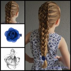 French loop braid with a blue rose from the webshop www.goudhaartje.nl…