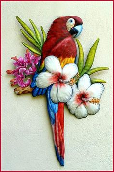 Tropical Rainforest Macaw Red Parrot Tiki Nursery Bath Wall Decor