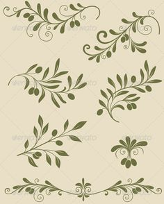 Decorative Olive Branch by Artness Vector vintage Decorative olive branch. Zip file containsfully file, high resolutionRGBJpeg image and transpare Olive Branch Tattoo, Branch Vector, Flower Silhouette, Graphic Prints, Tattoos, Ornaments, Vintage, Drawings, Floral