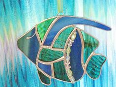 Stained glass blue and green angelfish sealife by ClearerImage, $21.00