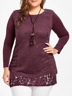 Plus Size Lace Trim Suede Top, DARK RED, XL in Plus Size T-shirts | DressLily.com