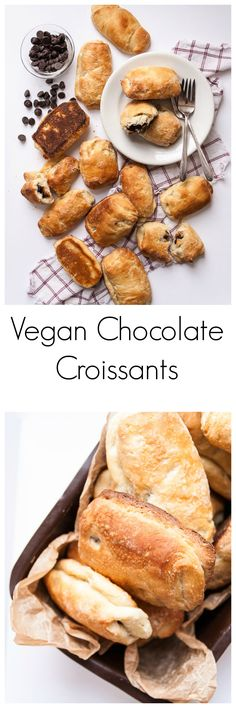 Vegan Chocolate Croissants- Vegan croissants made with coconut oil and no butter are the perfect chocolate filled vegan pastry!