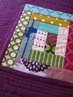 echino log cabin quilting in progress, 4. by { philistine made }, via Flickr