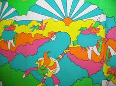 This is an artist called Peter Max I researched for my 70's theme. Really liked his use of colour and movement in his pieces
