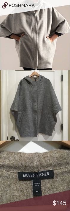 """[Eileen Fisher] poncho Hooded Alpca Wool Jacket Armpit to armpit 29"""" Length 31"""" 67% Baby Alpaca 28% Wool 3% Silk 2% Nylon  Zipper front closure along with snap buttons  Two front pockets Hood detail Excellent condition - no flaws! Eileen Fisher Jackets & Coats"""