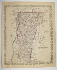 Antique Vermont Map 1881 Colton Map, New England State, Vintage Decor Gift for Her, Vintage Map Vermont Gift for Friend, VT Map available from OldMapsandPrints.Etsy.com #Vermont #AntiqueVermontMap #VintageNewEnglandDecor