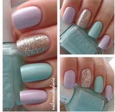 Light Pink, Mint & Sparkle Accent Nail