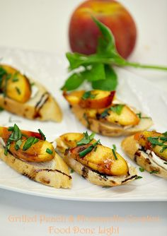 These were a huge hit at the party. Simple and healthy! Grilled Peach and Mozzarella Crostini Low Calorie Low Fat Healthy Appetizer