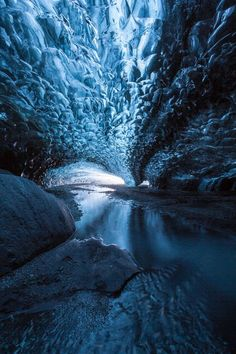 Ice Cave in the Vatnajokull Glacier, Iceland by Julien Ratel