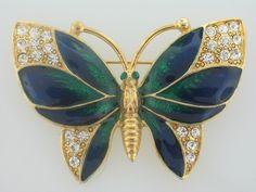 Vintage Hi-End Heavy Butterfly Blue & Green Enamel Rhinestone Gold Plated Brooch • $24.99