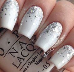 find this pin and more on nail art designs Silver Glitter Nails, Glitter Manicure, Sparkle Nails, Glitter Nail Art, Fun Nails, White Glitter, White Ombre, Glitter Slime, Glitter Force