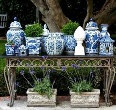 Blue and White Decor: Porcelain, Ginger Jars, Pillows - Why it Never Goes out of Style, 2015 Blue And White China, Blue China, Love Blue, China China, Delft, Magic Garden, Herb Garden, Garden Art, Garden Design