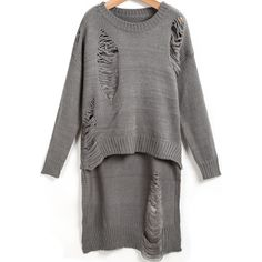 Grey Long Sleeve Hollow Dipped Hem Knit Sweater ($19) ❤ liked on Polyvore featuring tops, sweaters, grey, knit poncho sweater, knit pullover, knit poncho, long sleeve knit sweater and long sleeve sweaters