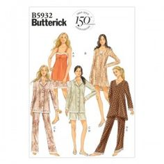 Butterick B5932 Sewing Pattern - Misses' Camisole, Dress, Top, Shorts and Pants