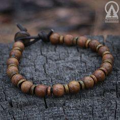 Mens Beaded Bracelet Mala Men's Leather by SolCreationsJewelry