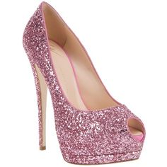 Giuseppe Zanotti Design Glitter embellished pump (2.250 BRL) ❤ liked on Polyvore featuring shoes, pumps, heels, high heels, sapatos, pink shoes, peeptoe pumps, high heels stilettos, pink high heel pumps and glitter pumps