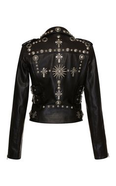 This Fausto Puglisi jacket is rendered in leather and features the classic design with a silver stud embellishment, epaulettes, and front zipper pockets.Front diagonal zipMaterial: 70% leather 28% viscose, 2% polyester Color: BlackFully linedMade in ItalyPlease note: This item may be returned for M'O Credits or full refund.